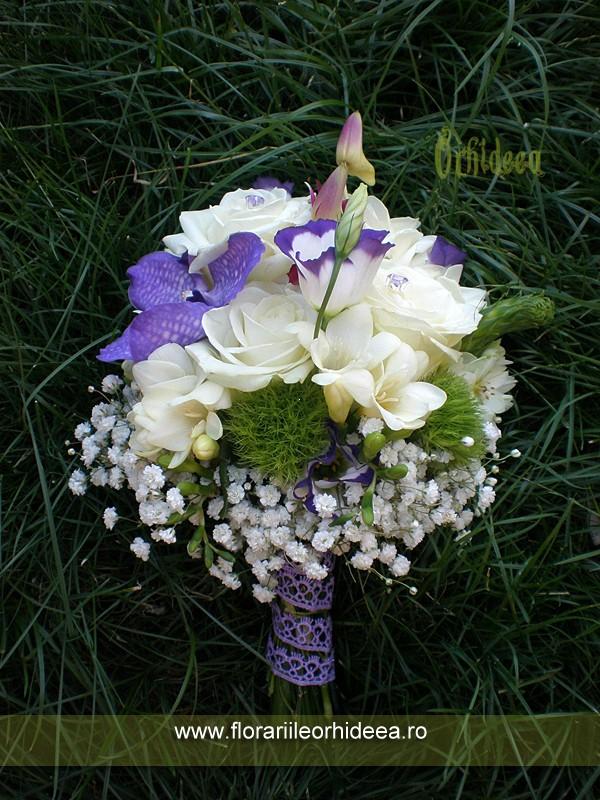 Buchet Mireasa Alb Lila Trandafiri Frezie Orhidee