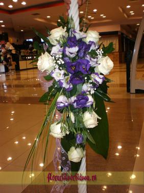Lumanari de nunta din trandafiri albi si eustoma mov