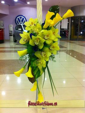 Lumanari de nunta din cale galbene si orhidee phalaenopsis galbene