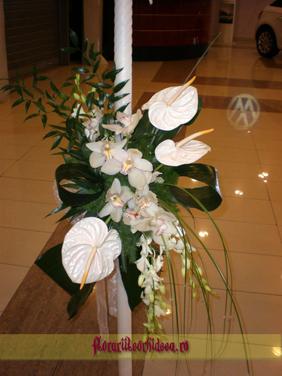 Lumanari de nunta din orhidee phalaenopsis si anthurium alb