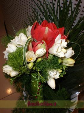 Buchet de mireasa din amaryllis rosu, frezii albe, diantus verde