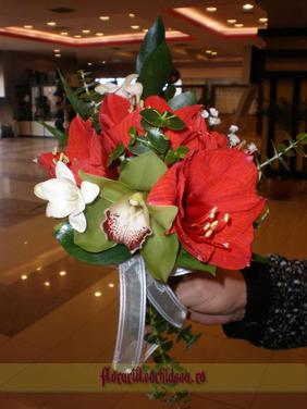 Buchet de nasa din amaryllis rosu, frezii albe si orhidee phalaenopsis verde