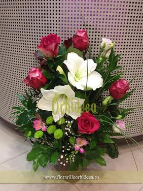 Aranjament floral - trandafiri satirati si amarylis alb