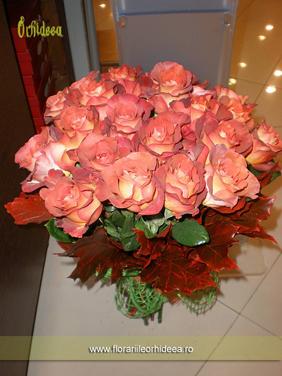 Buchet 25 trandafiri cognac