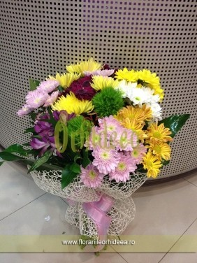 Buchet de crizanteme multicolor