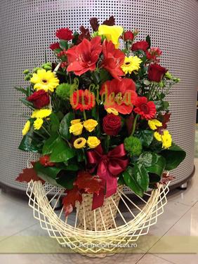 Cos cu flori in doua culori